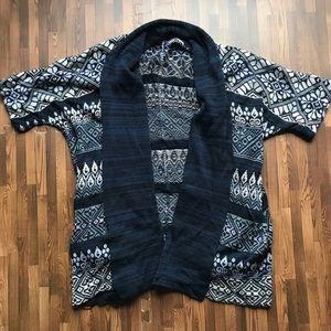 Peruvian Connection- Pattern short sleeve cardigan
